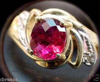 NATURAL RUBELLITE TOURMALINE & DIAMONDS 10K GOLD RING