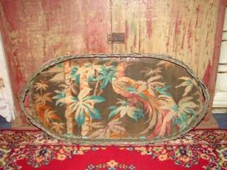 Antique Large Wicker Oval Serving Tray Picture Under Glass Wood