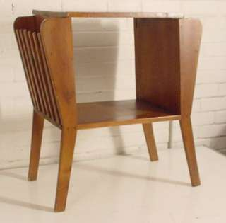 VINTAGE END TABLE WITH MAGAZINE RACKS  SOLID WOOD NOT PLANKED   CURVED