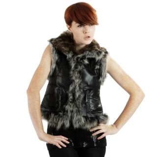 United Face Womens New Fancy Fox Trimmed Lamb Fur Black Leather Vest