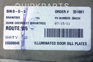 2011 2012 Chevy Cruze Illuminated Door Sill Plates Blue Front & Rear