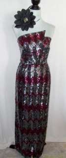 Vintage Lilli Diamond Sequin Dress Gown 60s 70s Size 8 Full Length