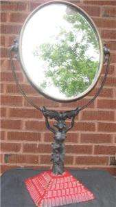 Old Art Nouveau cast Lady Holds up Swivel Vanity Mirror