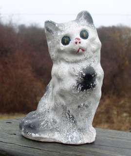 ANTIQUE FOLK ART CARNIVAL CHALK PLASTER CAT FIGURE