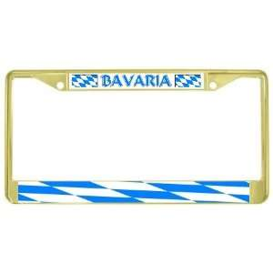 Bavaria Bavarian Flag Gold Tone Metal License Plate Frame