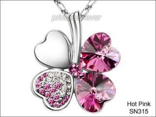 Leaf Clover Flower Heart Love Quality Necklace use Swarovski Crystal