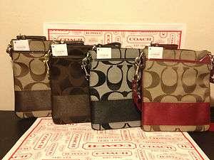 COACH Signature Stripe Swingpack *Guaranteed Authentic* (purse handbag