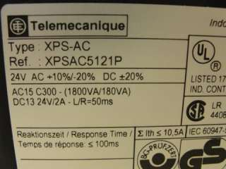 22310 NEW Telemecanique XPS AC5121P Safety Relay 24VAC