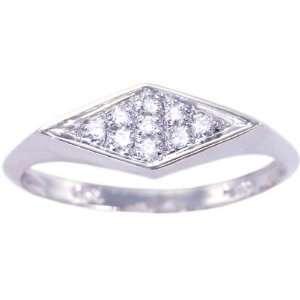 14K White Gold Diamond Promise Ring Diamond, size5