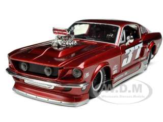 car model of 1967 ford mustang gt pro street with blower red 37