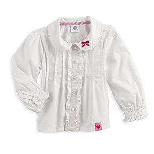 Toddler Girls Long Sleeve White Woven Shirt  Toughskins Baby Baby