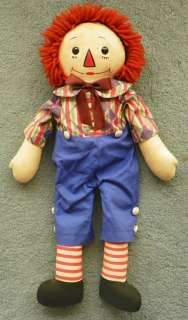 GEORGENE RAGGEDY ANDY DOLL 19  WOOL HAIR   BLACK OUTLINED NOSE