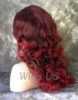 Black with Burgundy Highlights Soft Curls Skin Part Wig