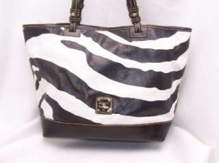 Dooney & Bourke BROWN Leather Zebra Print Double Handle Tote Retail $