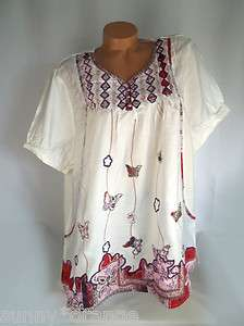 White embroidered butterfly appliqué peasant plus top blouse shirt