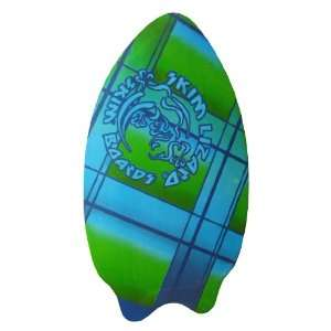 35 Inch Wooden Skimboard Blue / Green Plaid Graphics