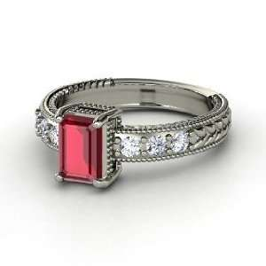 Emerald Isle Ring, Emerald Cut Ruby Platinum Ring with