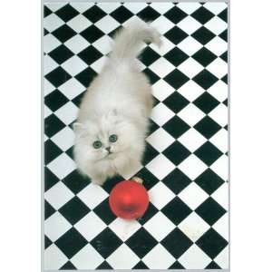 Christmas Cards, Cat with Red Ball Ornament on Black & White Checked