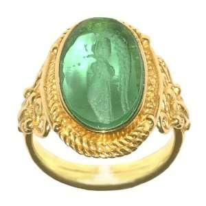 Tagliamonte 14k Yellow Gold Green Venetian Cameo Ring, Size 7 Jewelry