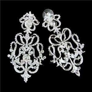 VTG Style Bridal Royal Flower Earring Swarovski Crystal Floral Dangle