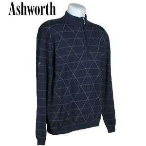 Mens Half Zip Front Panel Argyle Print Long Sleeve Sweater Sports