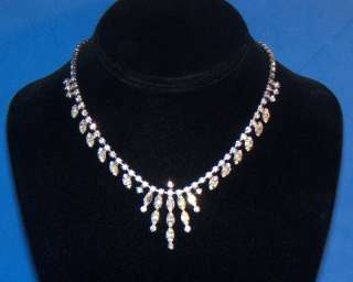 Vintage Clear Prong Set Marquise Rhinestone Necklace