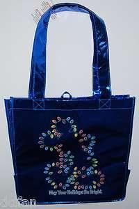 Disney Mickey Christmas Lights Blue Holiday Shiny Reusable Tote Bag