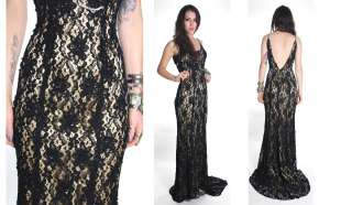 90s Blk LACE ILLUSION Backless Fishtail Beaded Prom Wedding Maxi Dress
