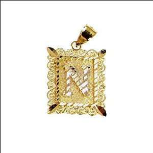 14k Yellow Gold, Initial Letter N Pendant Charm 16mm Wide