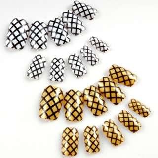 Airbrush Nagel Design Tips Künstliche Fingernägel weiß /gold 2