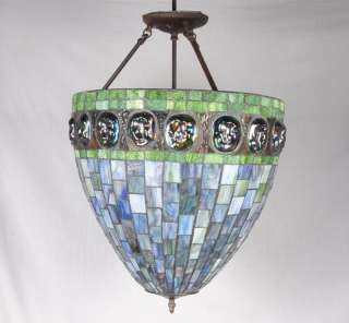 Antique Tiffany Style Turtle Back Stained Glass Light