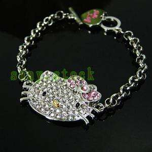 Hot Fashion style Crystal hello Kitty cat Bracelet L22