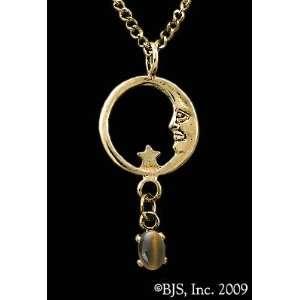 Star Necklace, 14k Yellow Gold, Tigers Eye set gemstone, Moon Star