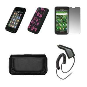 Samsung Vibrant T959 Black Leather Carrying Case + Black with Hot Pink