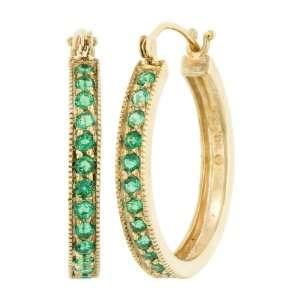 10k Yellow Gold Lab Created Emerald Hoop Earrings Jewelry