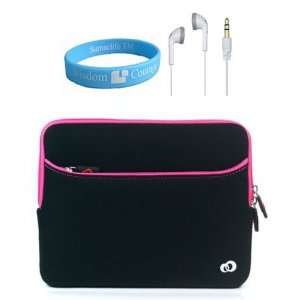 Apple iPad Glove Neoprene Black Pink Case + White Headset for iPad