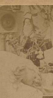 1897 STEREOVIEW Child Christmas Dream SANTA TOYS DOLLS