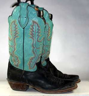 JUSTIN WESTERN/COWBOY TEAL/BLACK LEATHER DOUBLE SCALLOPED WOMENS BOOTS