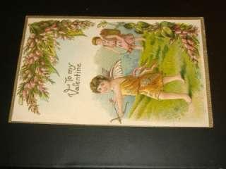1911 CUPID VALENTINE Antique Postcard GERMANY EMBOSSED