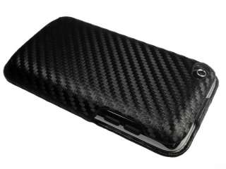 Black Carbon Fiber Style Flip Case for iPod Touch 4 4th