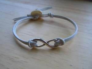 Infinity Eternity Love Symbol White Leather Bracelet