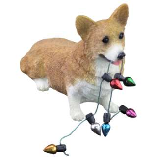 ORNAMENT PEMBROKE WELSH RED CORGI DOG STATUE FIGURINE SCULPTURE
