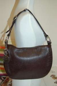 Coach Ali Mahogany Brown Pebble Leather Flap Bag Shoulder Bag HObo $