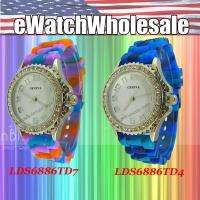 Wholesale Tie dye Rubber Strap Silicone CZ Jelly Watches   LDS6886LOT3