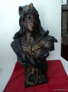 ANTIQUE Victorian Chalkware EGYPTIAN Ethiopian QUEEN Bust Statue 19C