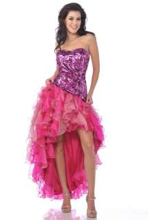 & LONG PROM SWEET 16 DRESS FORMAL HOT PINK SHOW STOPPER TRAIN