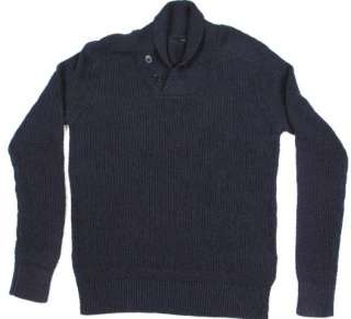 Crew Linen  Cotton shawl collar Pullover Navy med