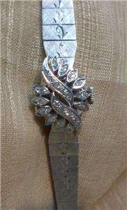 ladies estate 14k white gold Sura diamond covered manual watch