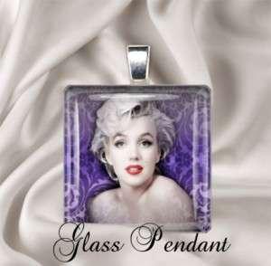 Marilyn Monroe Purple Design Glass Necklace Pendant