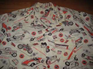 VINTAGE 1950S HOT ROD CAR CLUB WYNNS DRAG RACE PRINT SHIRT  XL  NR